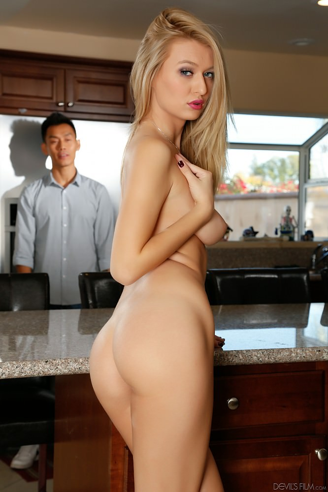 blonde girl asian guy amwf